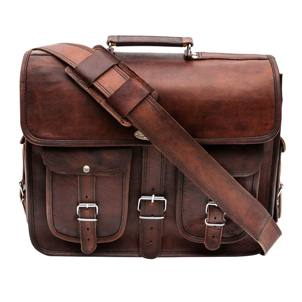 Genuine Vintage Leather Laptop Messenger Bag