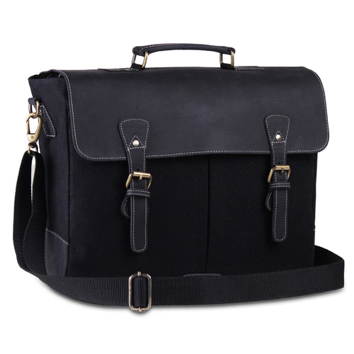 Black Large Leather Canvas Messenger Briefcase Bag Black