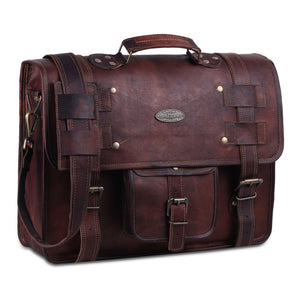 Large Leather Full Grain Goat Leather Briefcase Messenger Bag by Hulsh