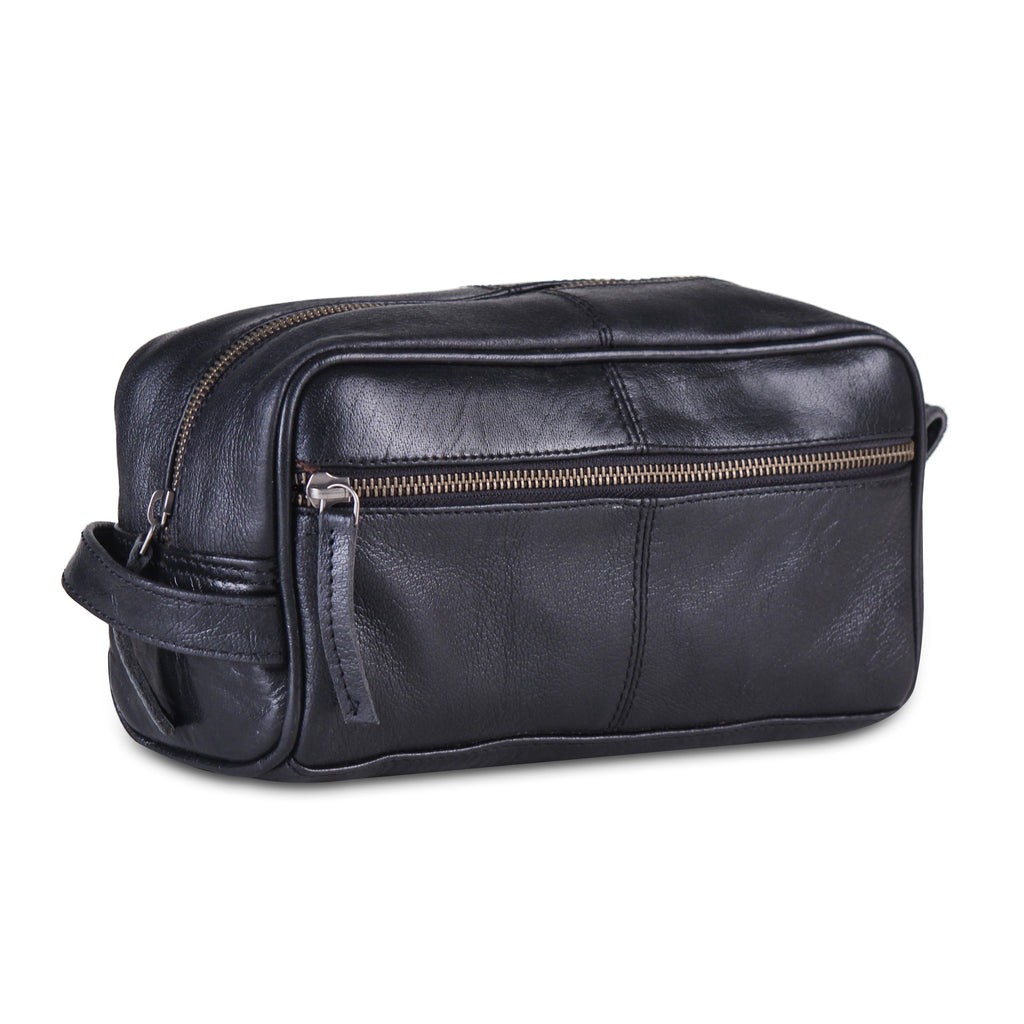 Black Leather Toiletry Utility Bag