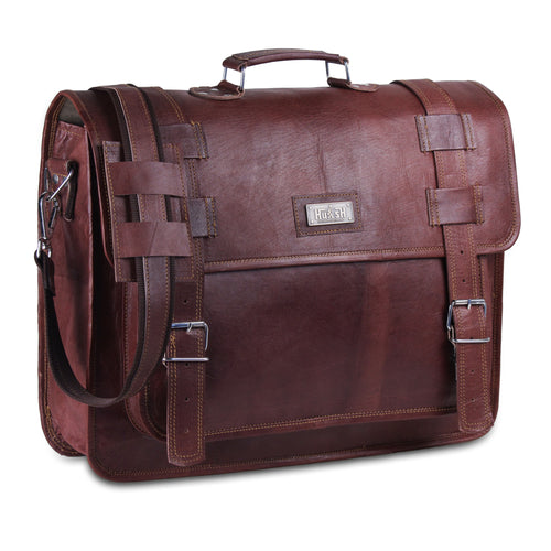 Brown Leather Large Laptop Messenger Bag