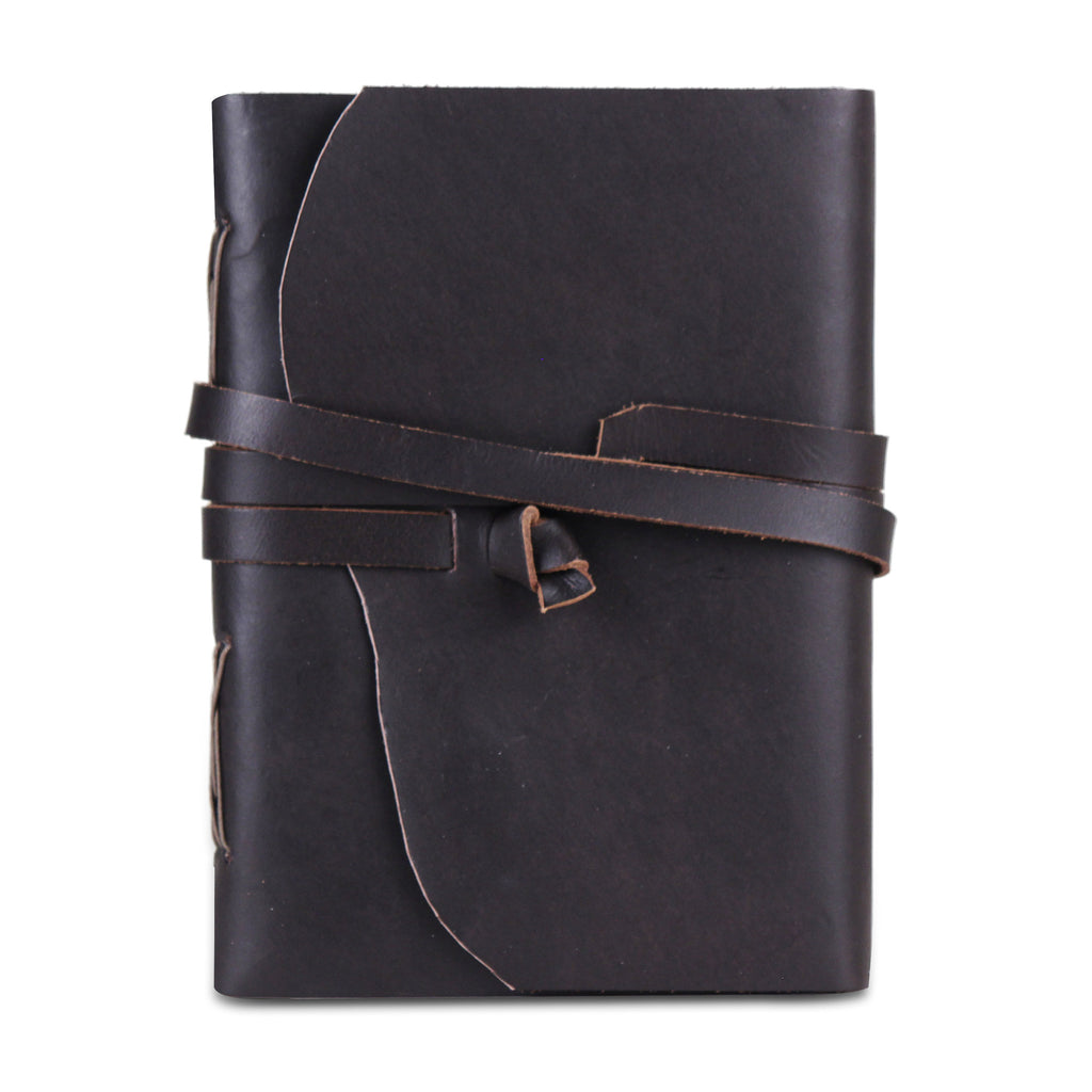 Leather Plain Textured Knot Strip Note Journal Book- Black