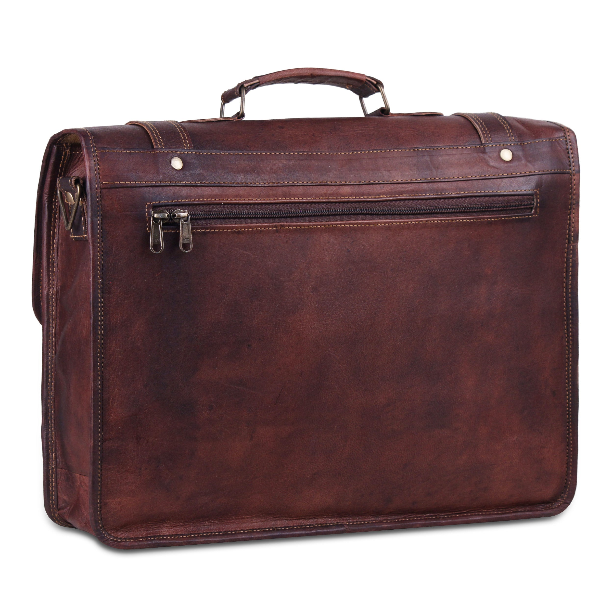 Large Rustic Brown Leather Messenger Briefcase Bag with Top Handle