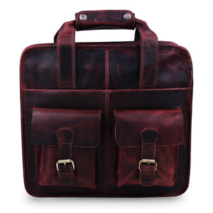 Vintage Full Grain Buffalo Leather Briefcase Bag with Top Handle By Hulsh