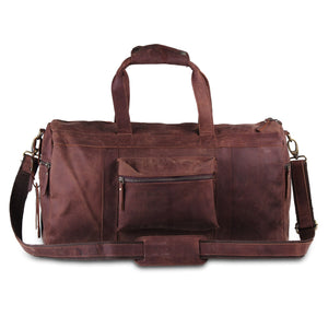 Leather Duffle Bag with Top Handle and Adjustable Strap