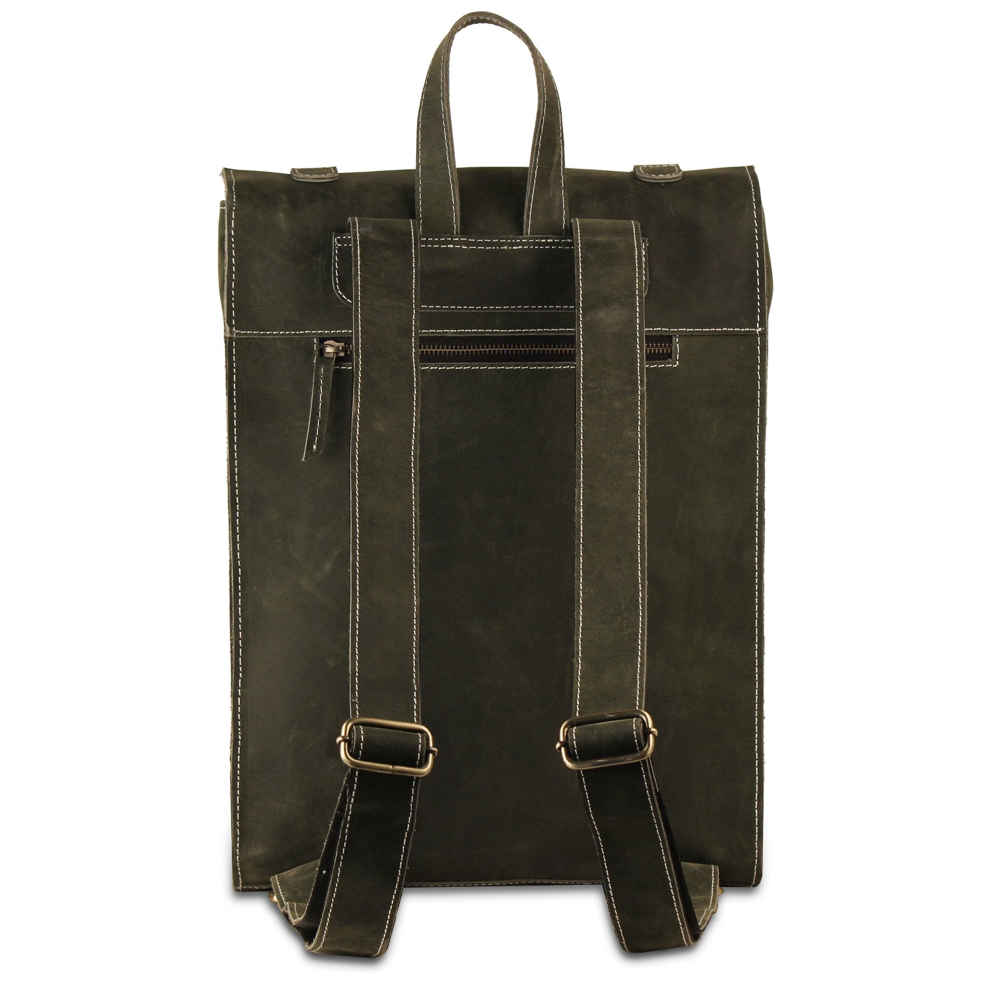 Green Buffalo Leather Backpack Bag