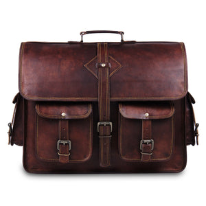 Full Grain Laptop Brown Briefcase Messenger Bag by Hulsh