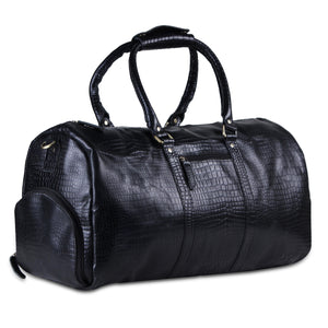 Full Grain Black Leather Overnight Weekender Duffle Bag with Top Handle by Hulsh