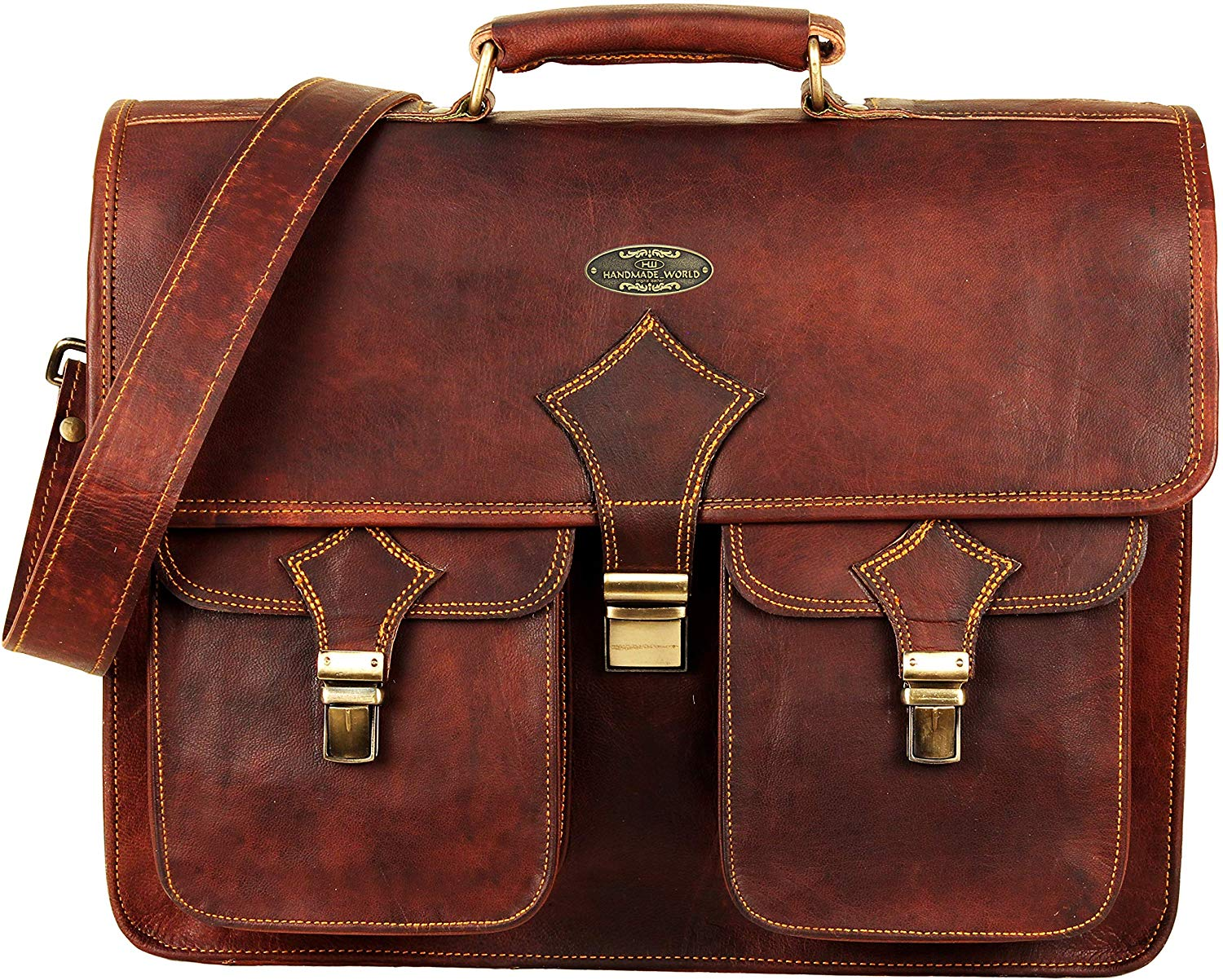 Full Grain Briefcase Bag with Top Handle and Push Clip