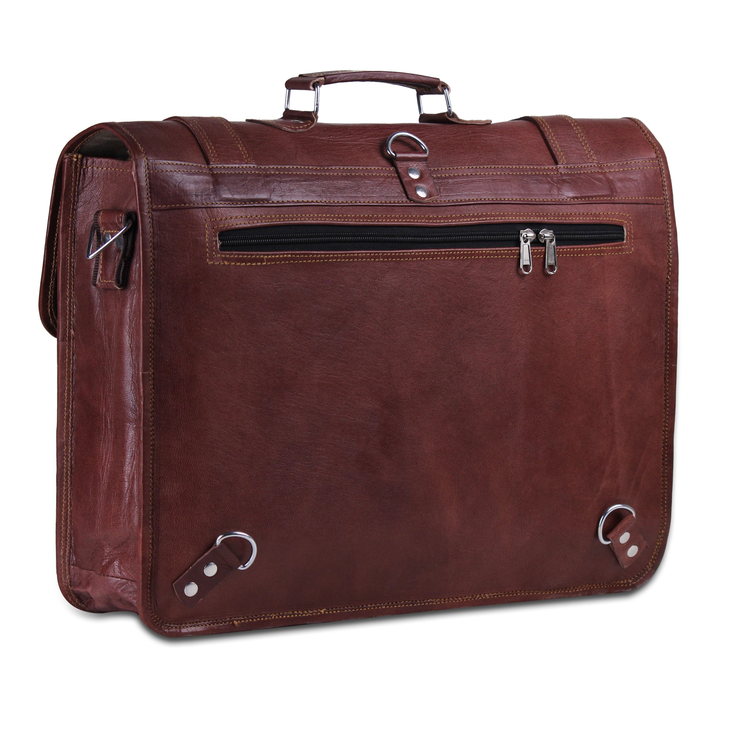 Convertible Leather Messenger Bag with Top Handle and Adjustable Straps