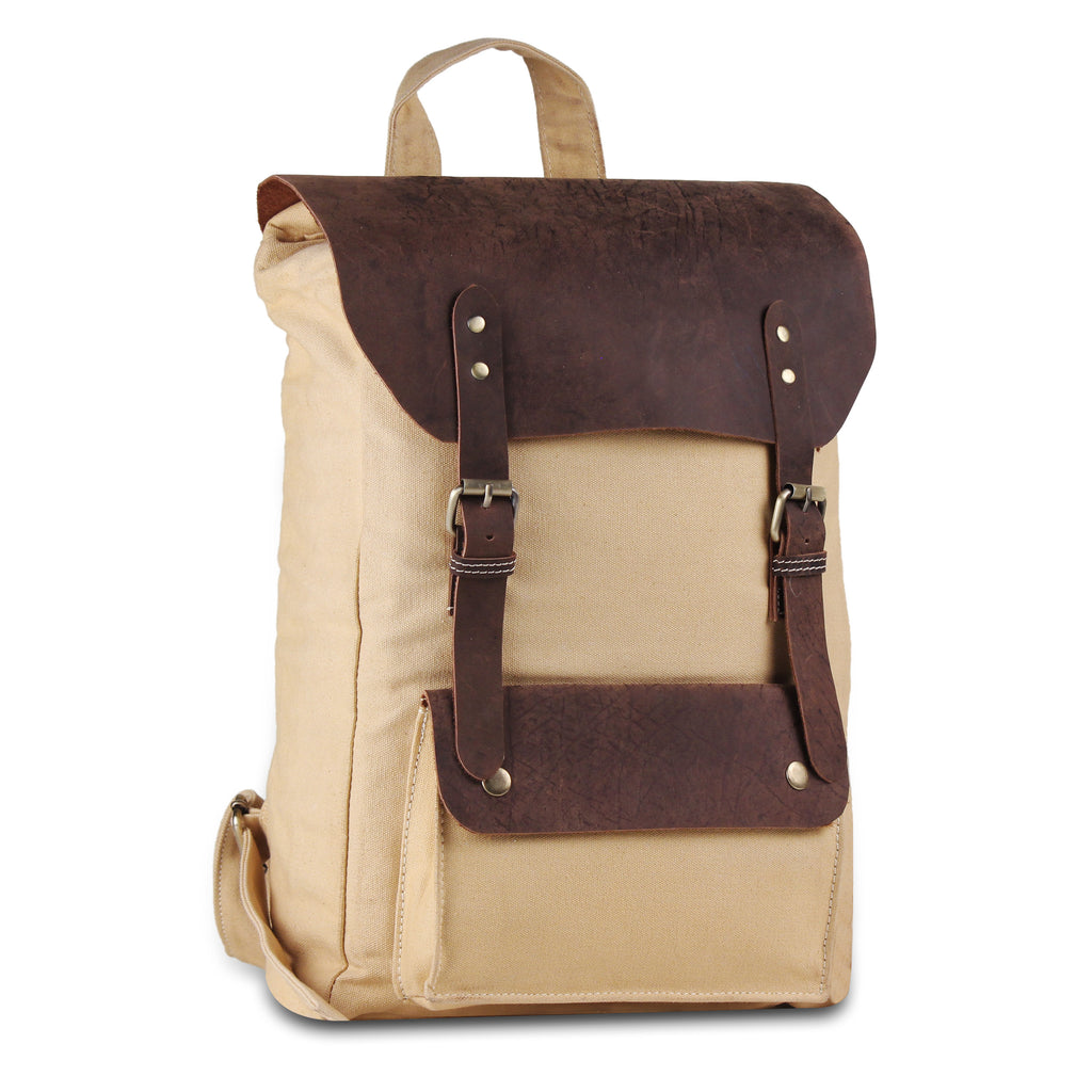 Vintage Leather Canvas Backpack Bag