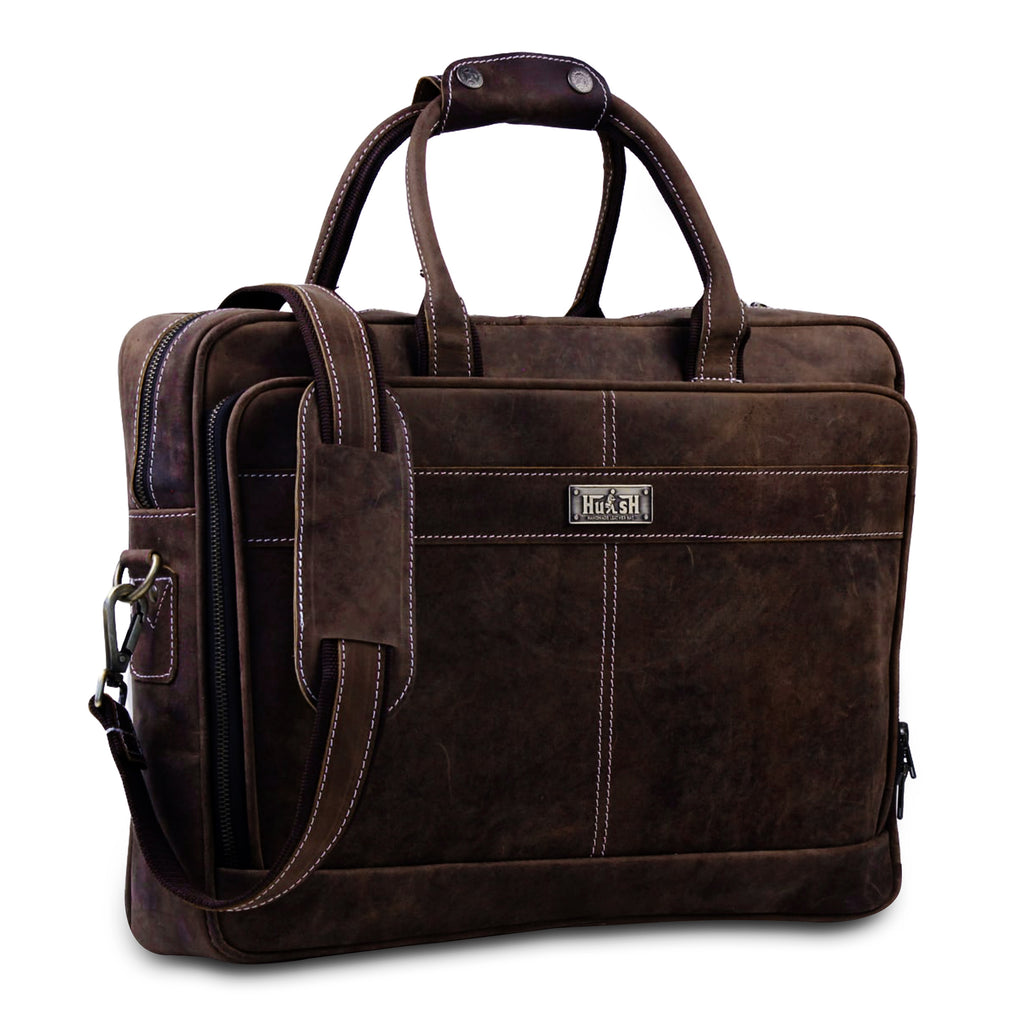 Large Leather Briefcase Messenger Laptop Case Bag with Top Handle