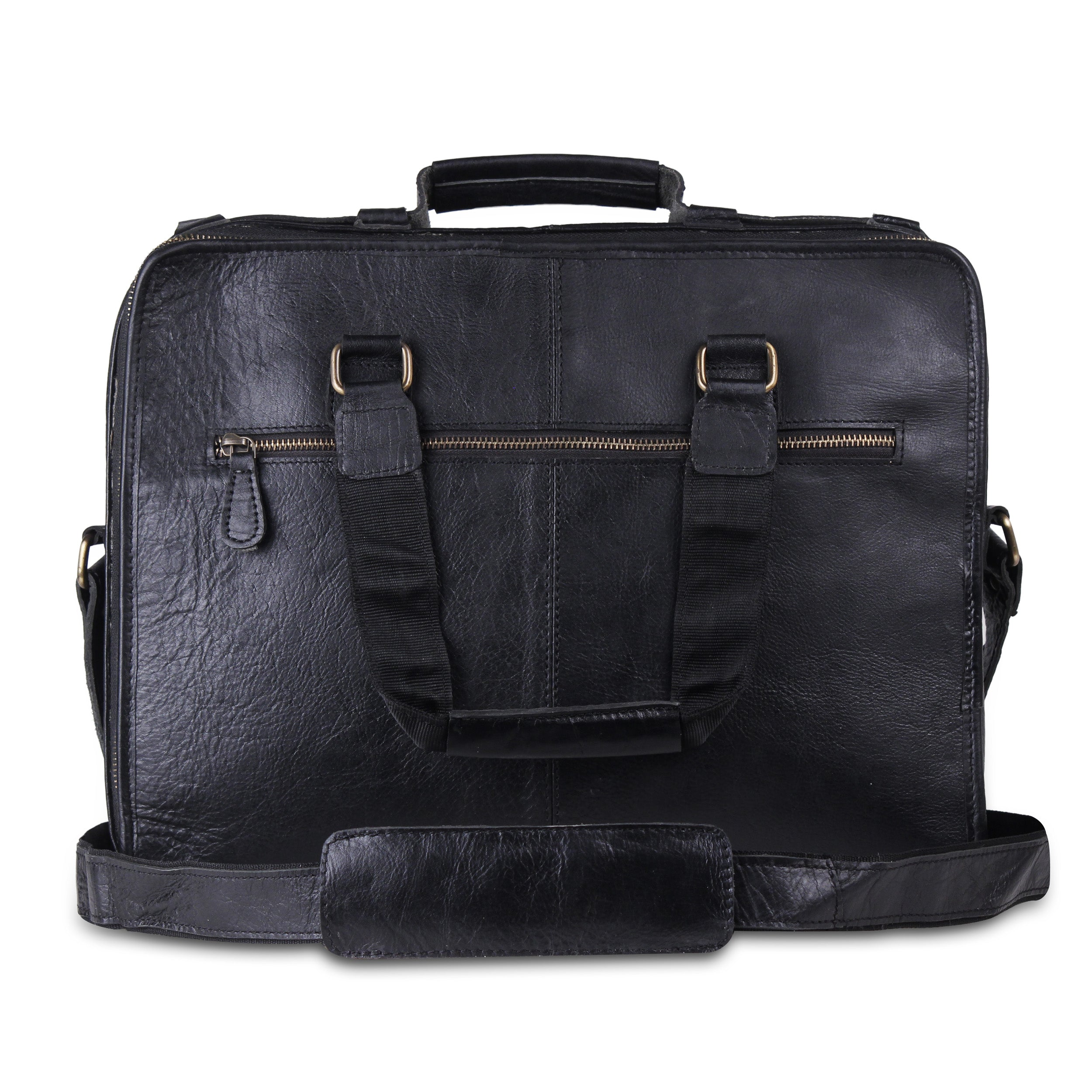 Genuine Leather Padded Black Briefcase Laptop Case- 15 Inch