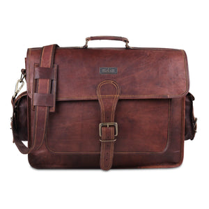 Leather Messenger Briefcase Satchel Bag with Top Handle