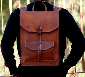 Vintage Leather Backpack Bag with Adjustable Padded Strap