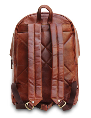 Rustic Leather Backpack with Laptop and Shoulder Padding