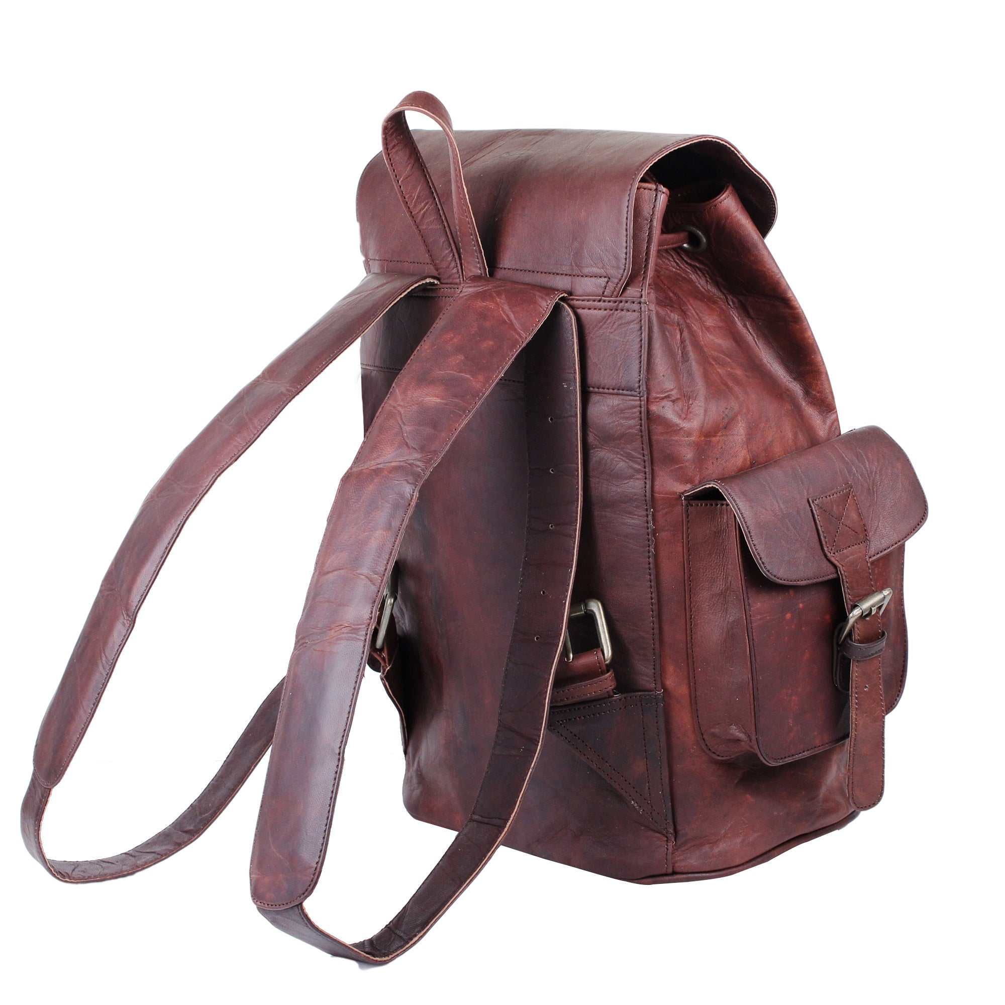 Vintage Genuine Leather Backpack with Padded Strap