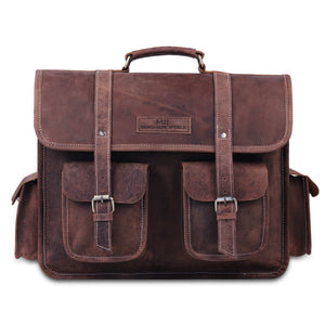 Large Messenger Briefcase Bag with External pockets and Top Handle