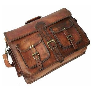 Vintage Dark Brown  Large Leather Briefcase Bag