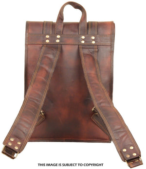 Brown Leather Roll Backpack with Top Handle by hulsh