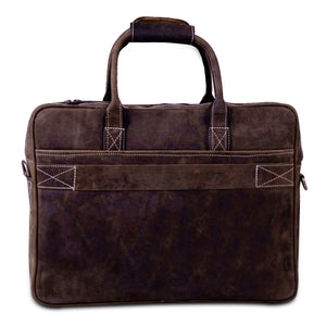 Full Grain Large Buffalo Leather Messenger Briefcase Bag with Adjustable Strap and Top Handle