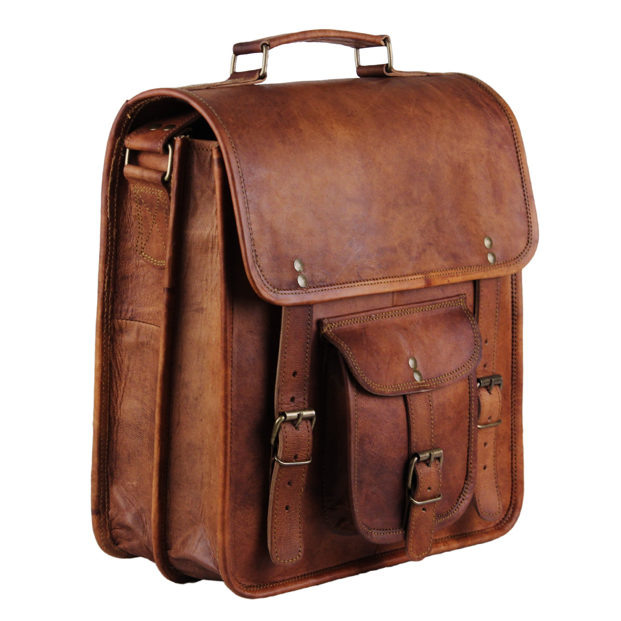 Full Grain Large Leather Brown Rustic Messenger Laptop Bag with Top Handle