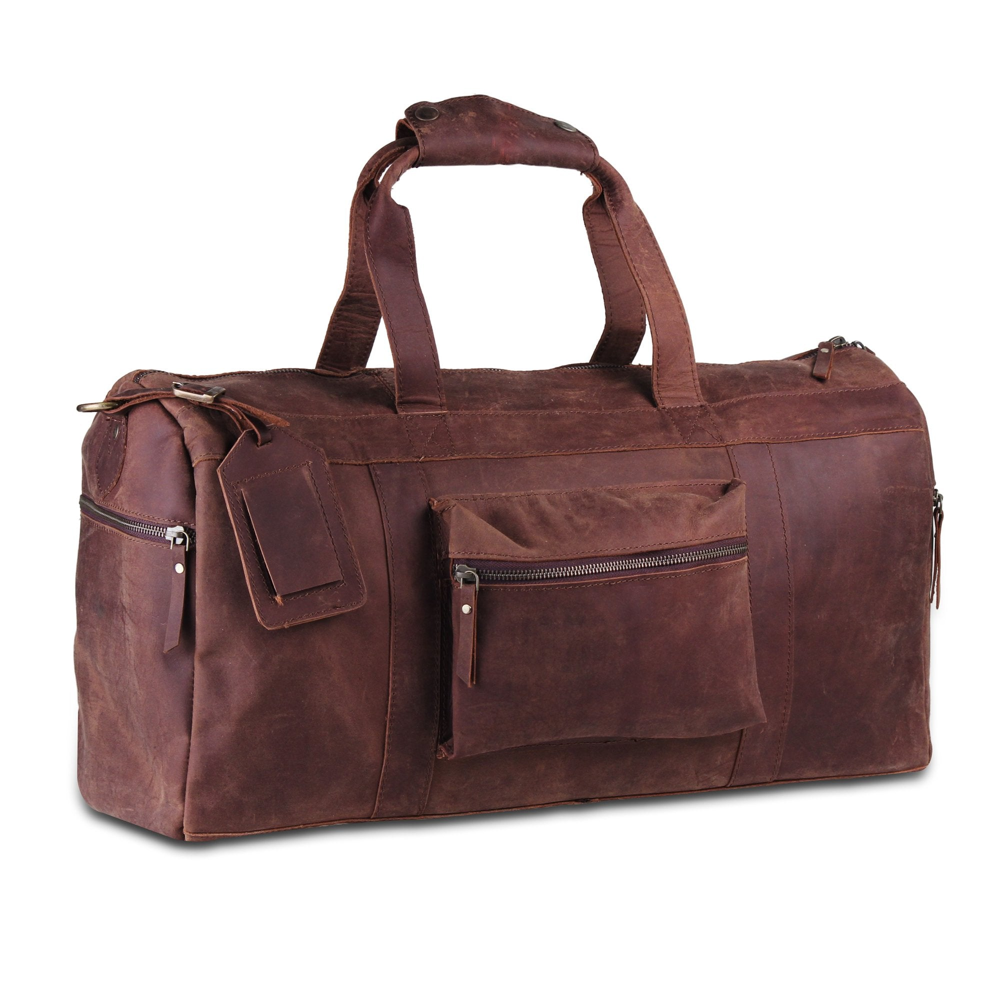 Full Grain Brown Leather Duffle Overnight Weekender Bag with Name tag by Hulsh