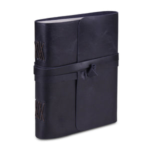 Leather Plain Textured Note Journal Book- Dark Blue
