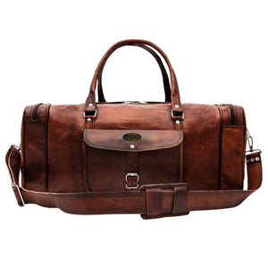 Full Grain Brown Large Leather Duffel Bag with Top handle