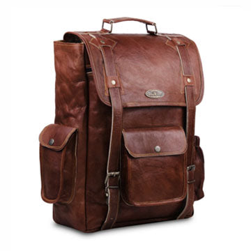 Genuine Vintage Full Grain Leather Backpack with Top Handle