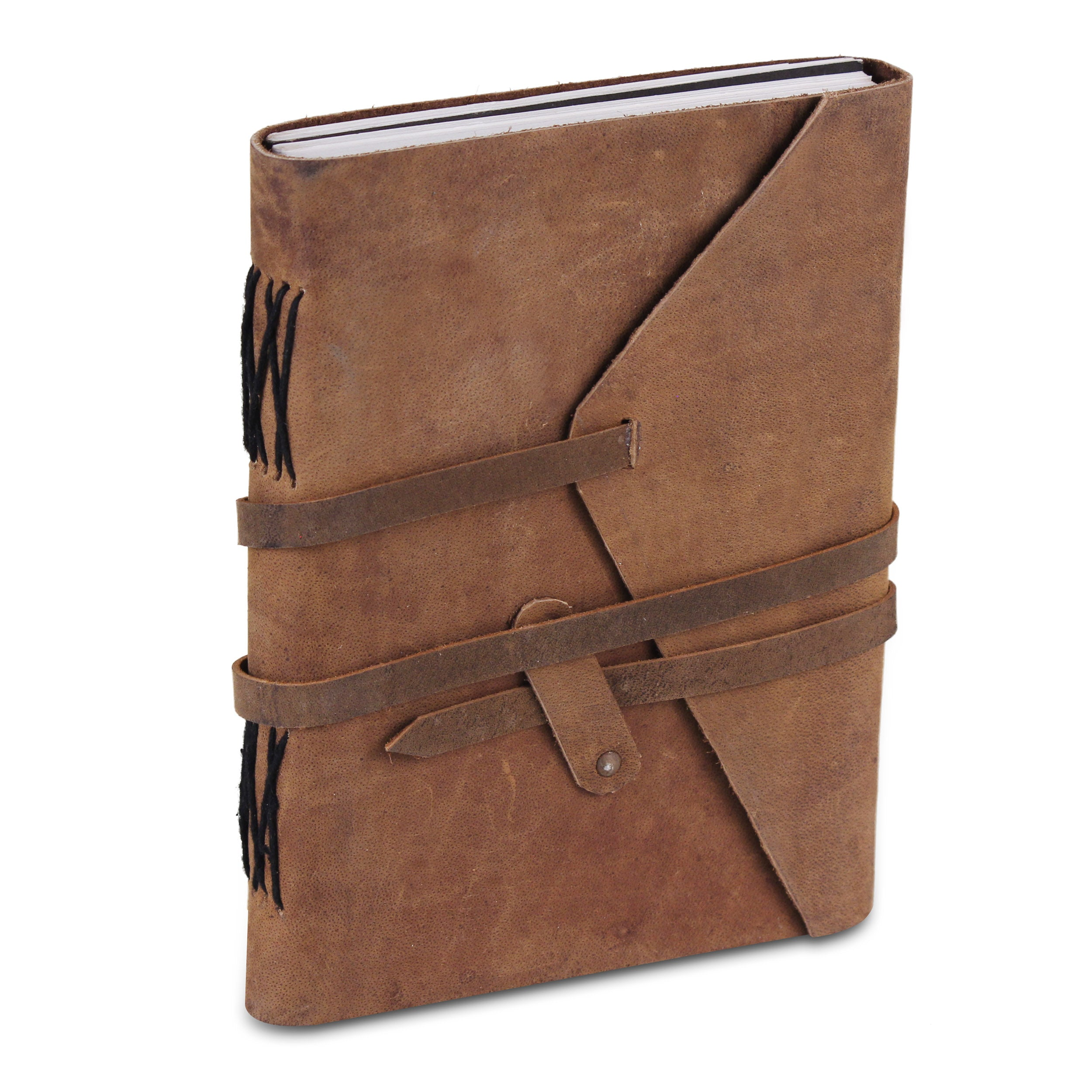 Leather Plain Textured Note Journal Book- Light Brown