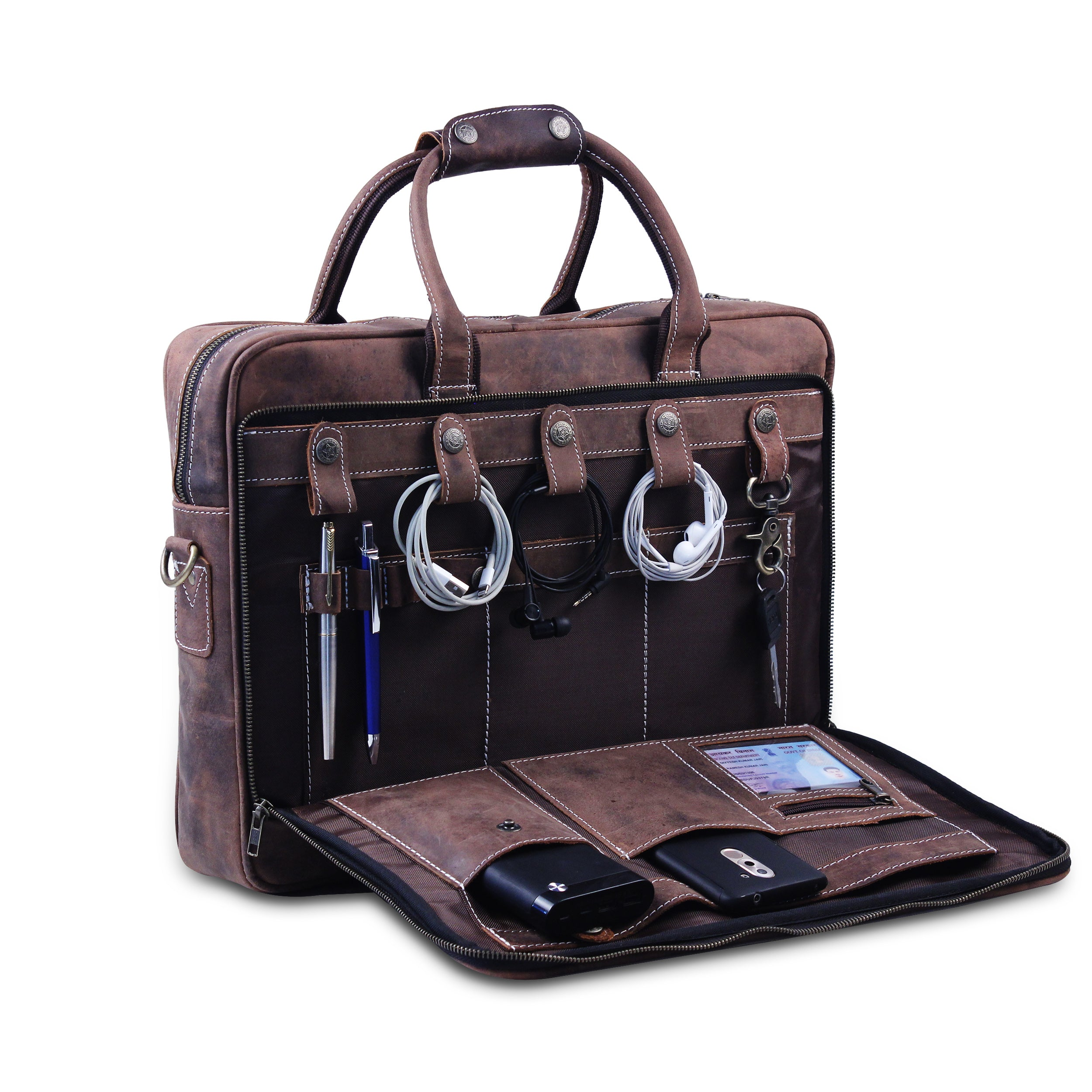 Buffalo Leather Bag with Top Handle For Office use