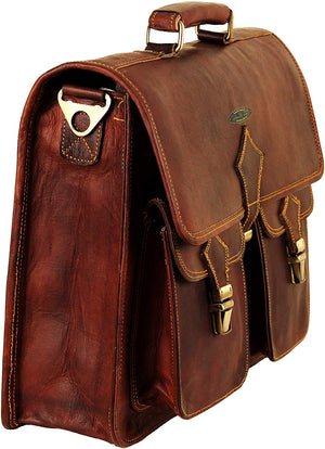 Genuine Leather Messenger Bag with Top Handle and Adjustable Shoulder Strap by Hulsh