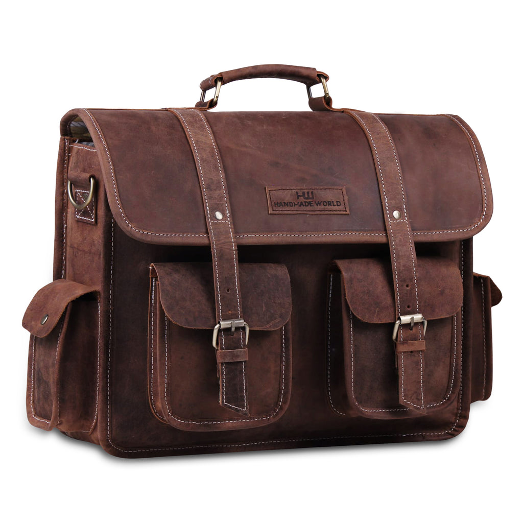 Genuine Full Grain Large Buffalo Messenger Briefcase Bag with Laptop Padding
