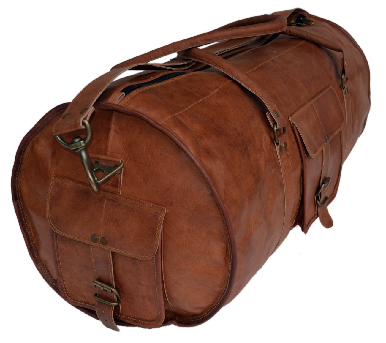 Genuine Full Grain Leather Round Duffel Weekender Bag with Top Handle