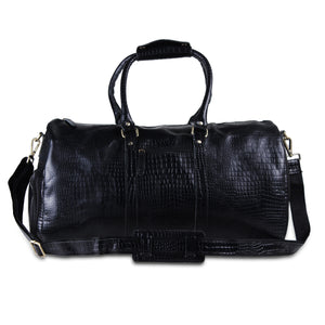 Black Crocodile Textured Leather Duffel Overnight Bag by Hulsh