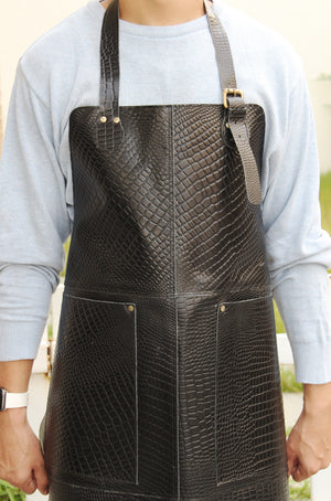 Genuine Full Grain Leather Apron- Black