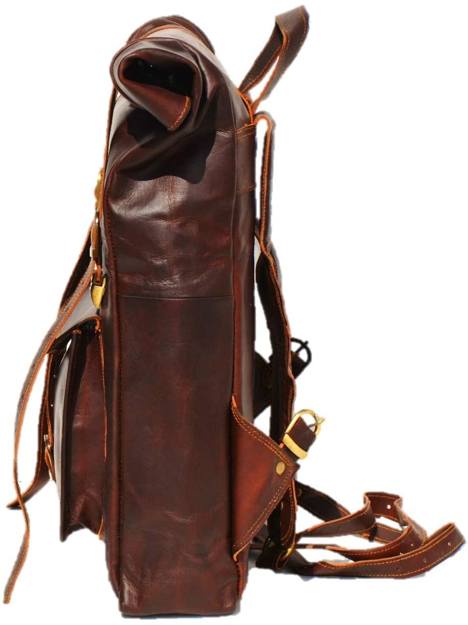 Brown Roll up Backpack with Adjustable Strap