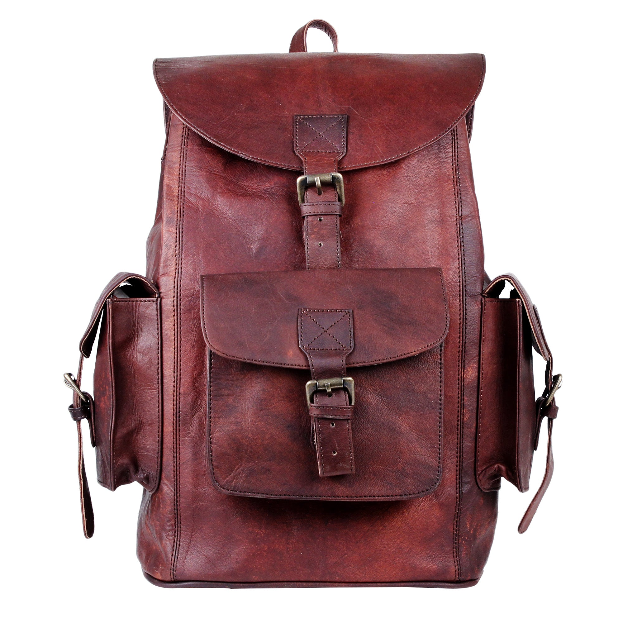 Vintage Leather Messenger bag with Side Pockets