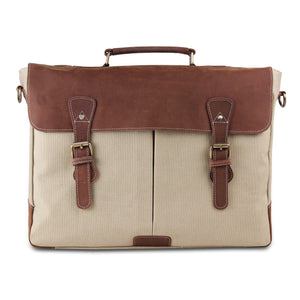 Large Genuine Full Grain Leather Canvas Briefcase Bag with Top Handle - Cream