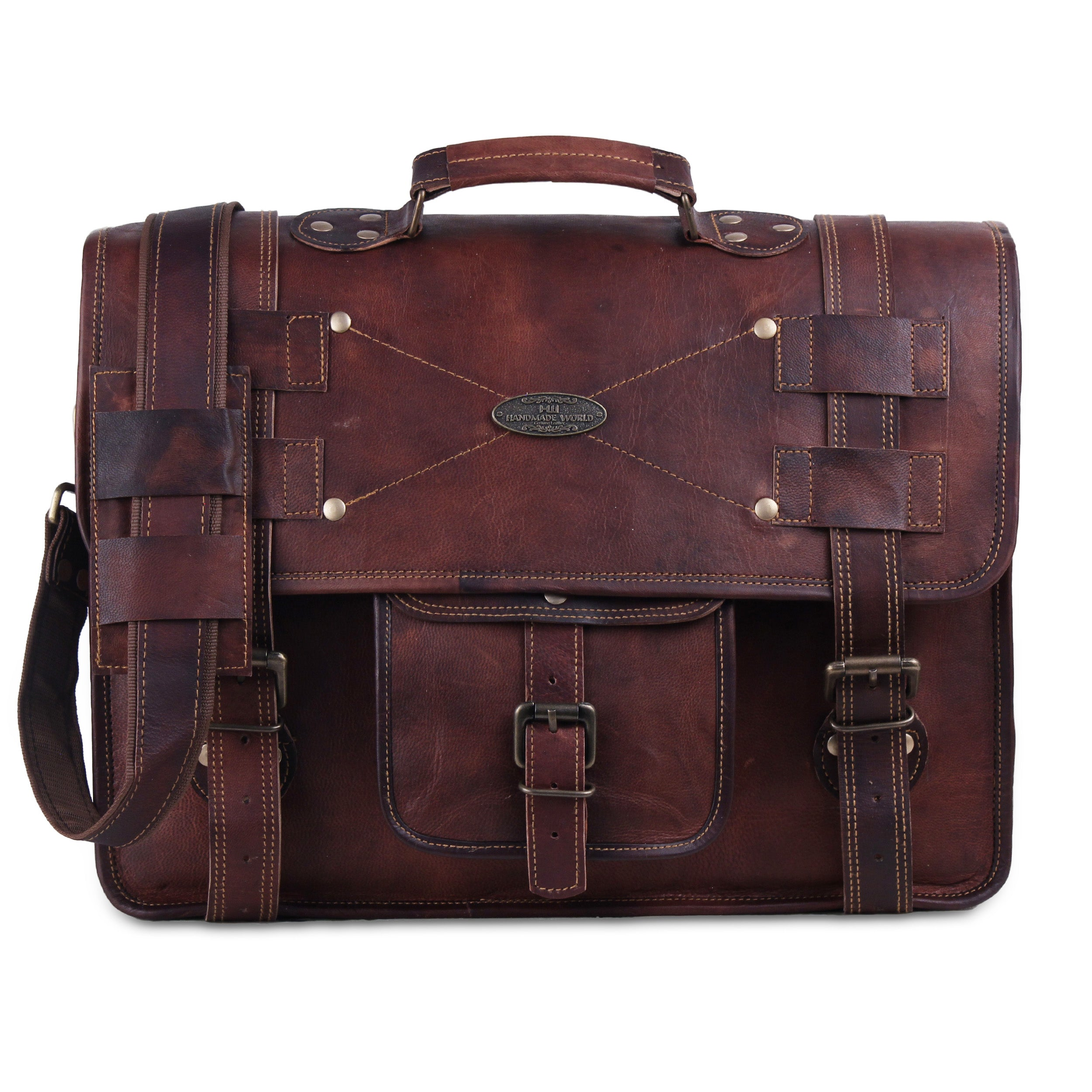 Large Leather Messenger Bag with Top handle for Office work