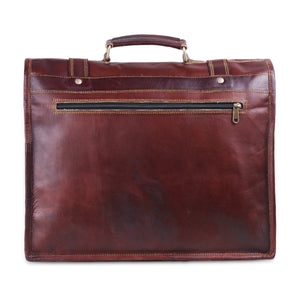 Top Handle Brown Leather Messenger Bag 15 inch