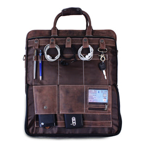 Large Leather Messenger Bag with Laptop Padding for office purpose