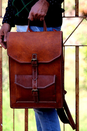 Leather Vintage Backpack Rucksack Bag with top handle