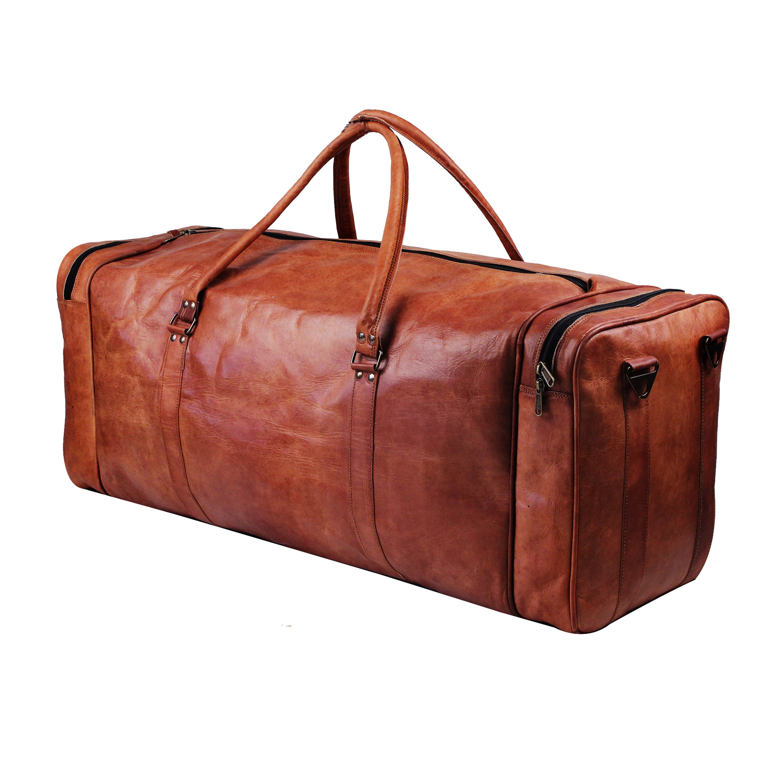 Full grain Brown Leather Square Duffle Bag
