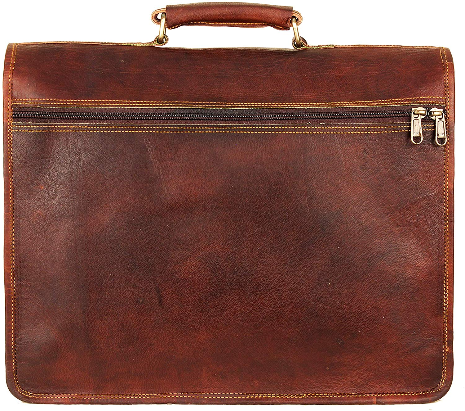 Full Grain Large Leather Briefcase Bag with Push Clip