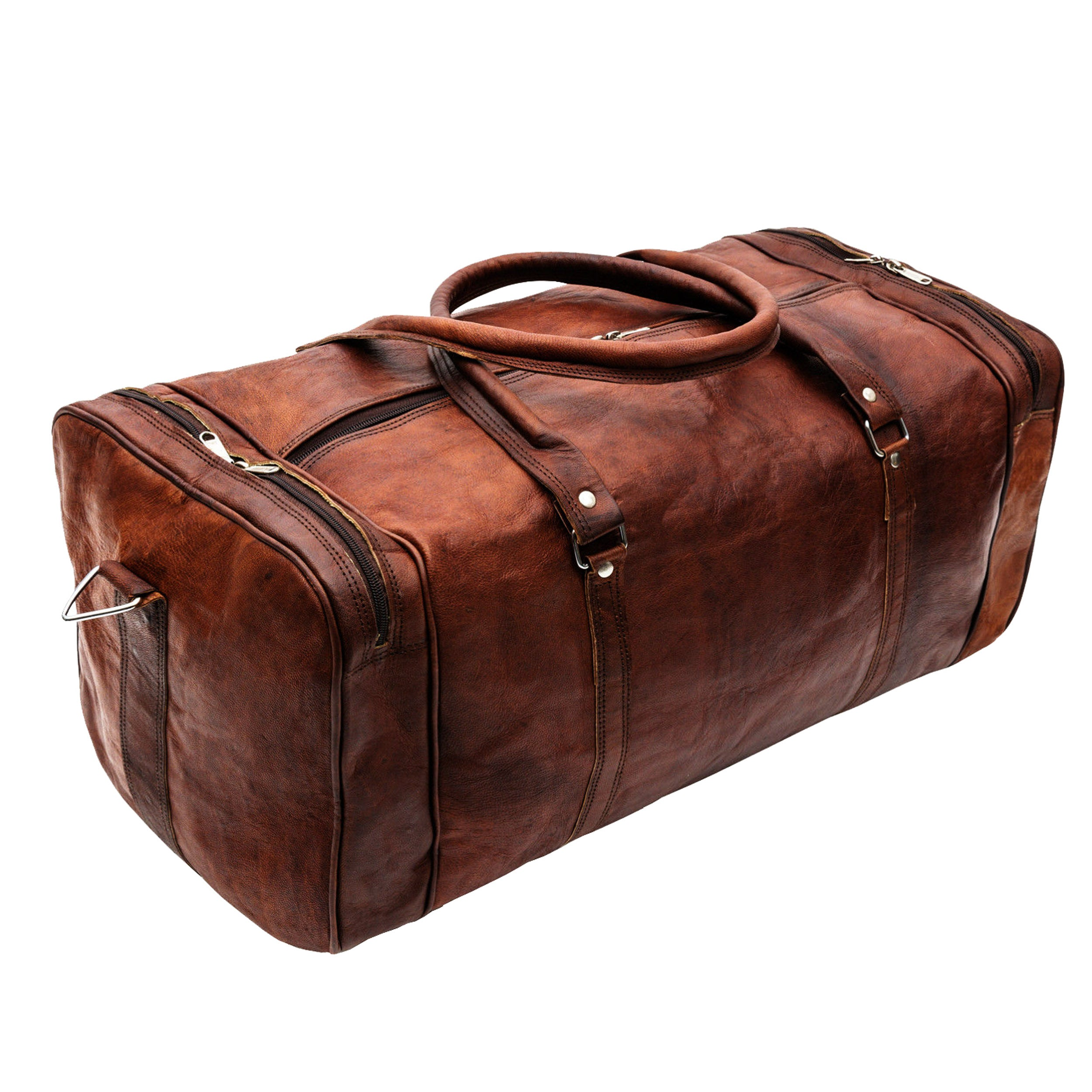 Large leather Duffle Overnight Weekender bag with Top Handle