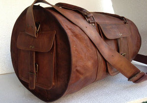 Vintage Rustic Leather Round Duffel Weekender Bag by Hulsh