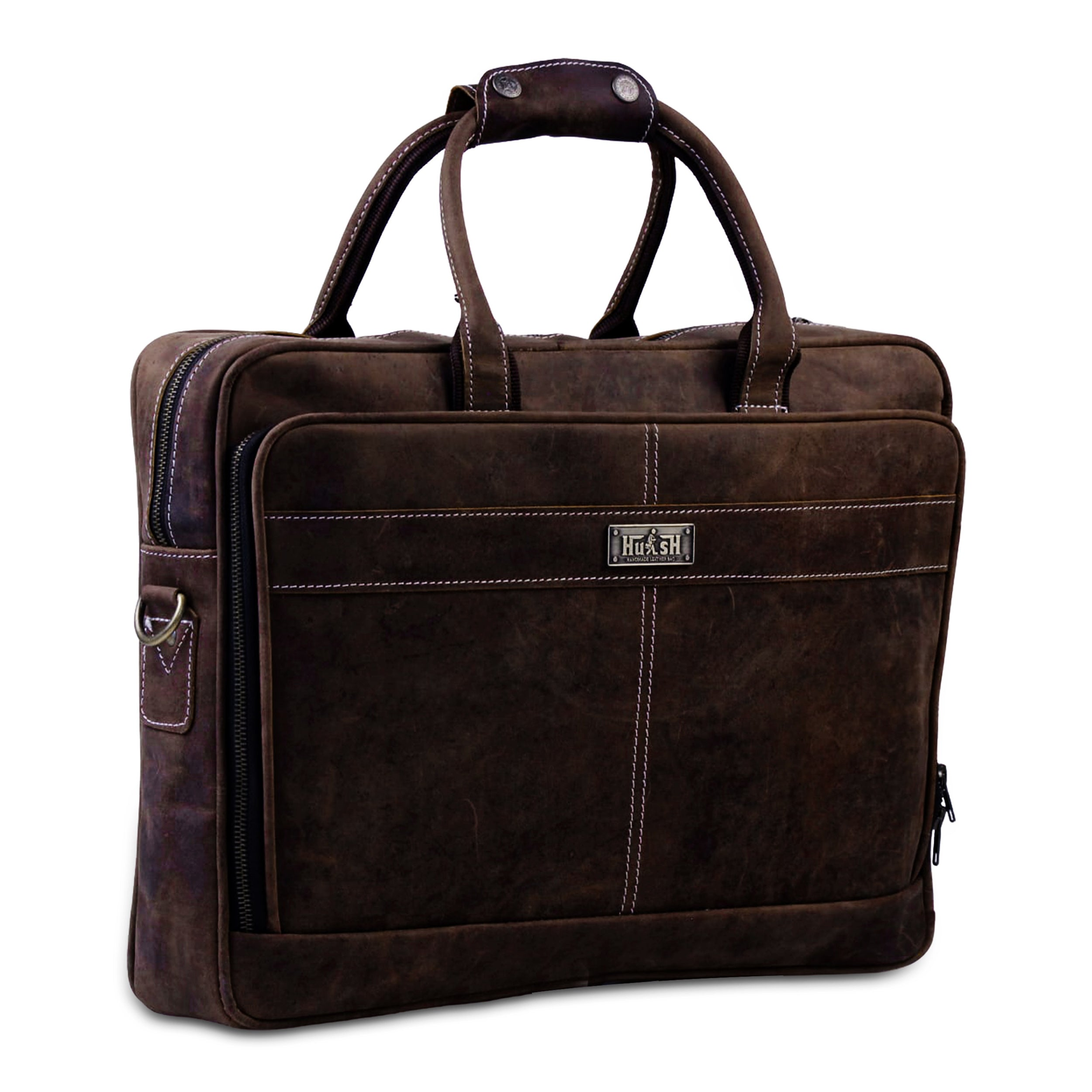 Laptop Padded Brown Briefcase Bag with Adjustable Strap