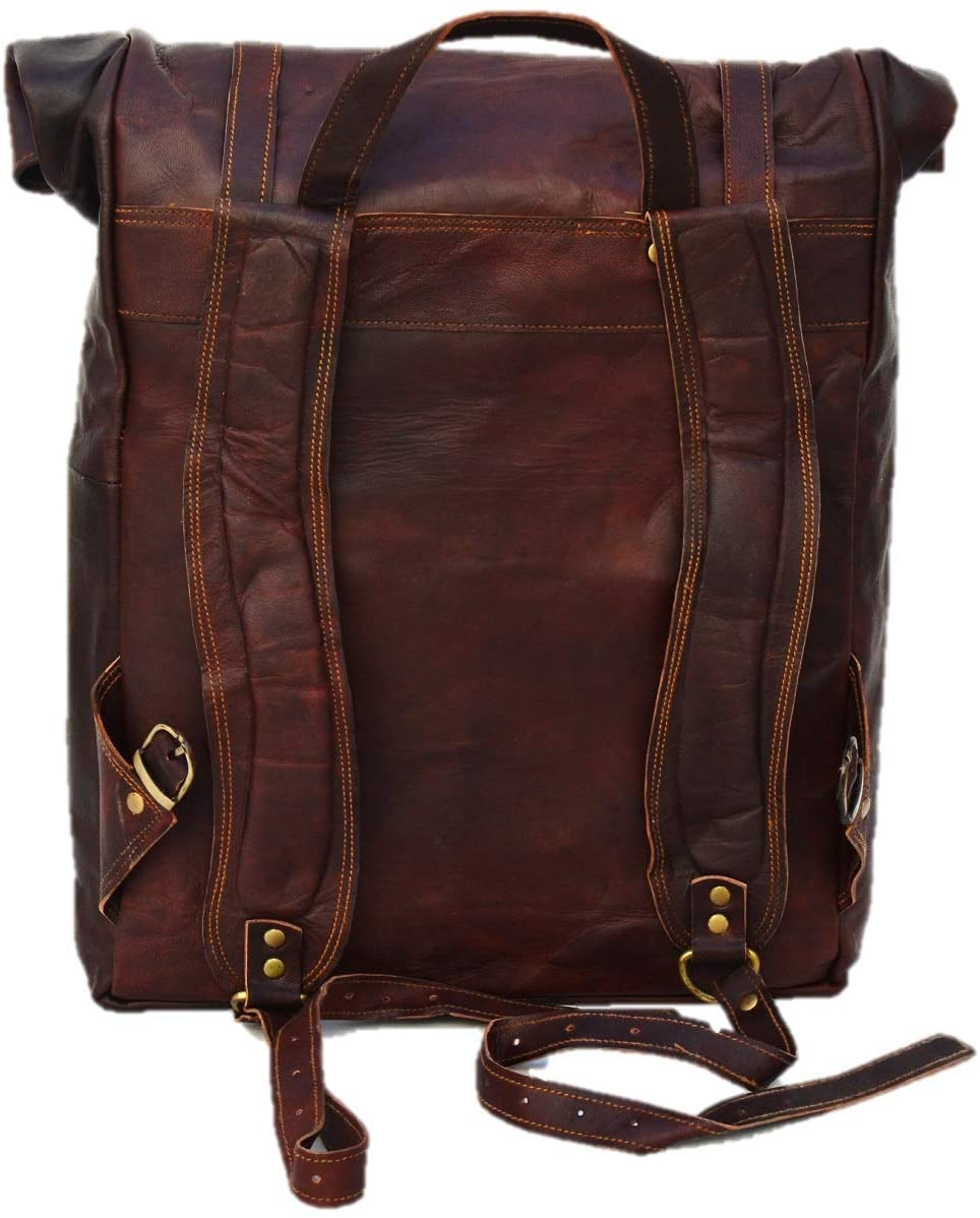 Brown Backpack with Top Handle and padded Straps by Hulsh